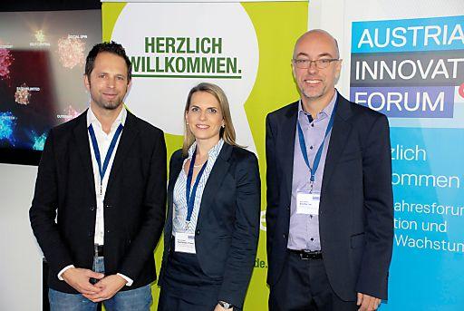 v.l.n.r.: Mag. René Massatti (TrendONE), Mag. Romana Edelhauser-Preissl (Bisnode D&B), Mag. Helmut Blocher MBA (Austrian Innovation Forum)