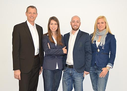 Das neue Digital-Verkaufsteam der RMA: Key Account Leiter Andreas Rast mit Marion Pöhacker, Markus Plank und Alexandra Materzok (v.l.n.r.)
