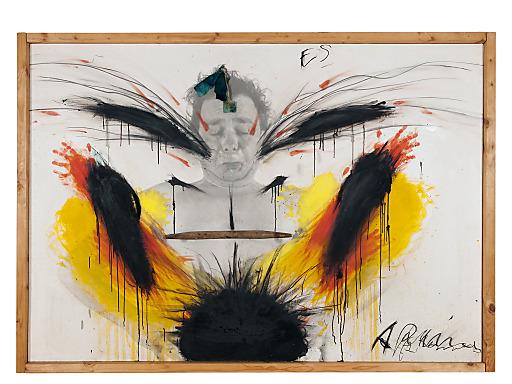 """Arnulf Rainer / """"ES"""" / 1970/73 / Ölkreide, Öl auf Foto auf Holz mit Applikationen / ca. 122 x 175 cm."""