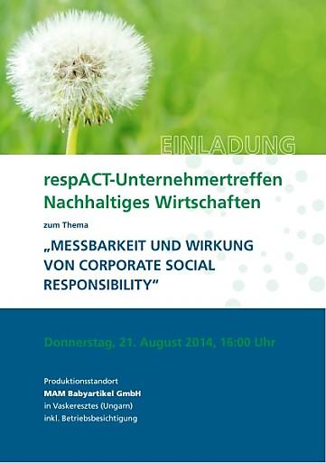 """Terminaviso: respACT-Unternehmertreffen zur """"Messbarkeit und Wirkung von Corporate Social Responsibility"""", 21. August 2014"""