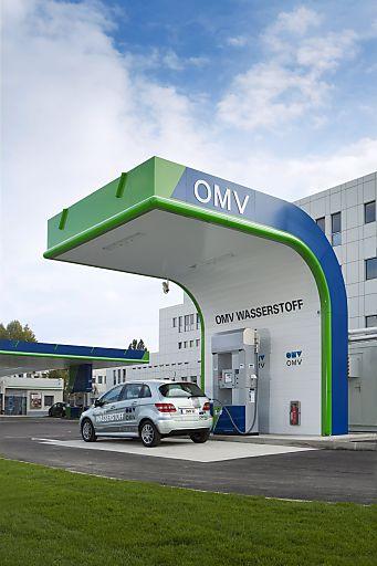 Erste öffentliche Wasserstofftankstelle Österreichs. OMV Shuttleworthstrasse