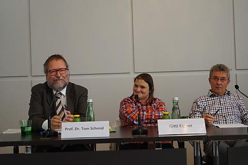 Wortmeldungen Podium (Tom Schmid, Gitti Eigner, Ernst Berger)