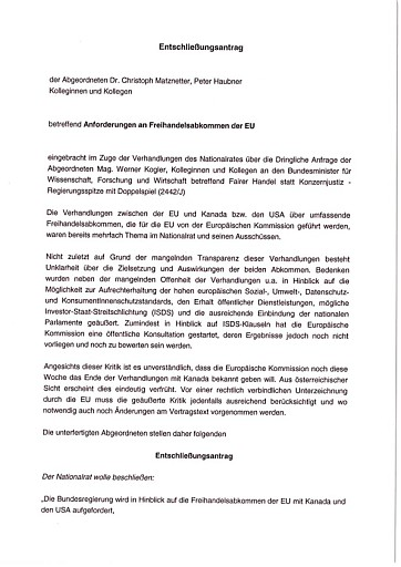 Kogler: Grüner Erfolg - Nationalratsmehrheit gegen Konzernklagsrechte