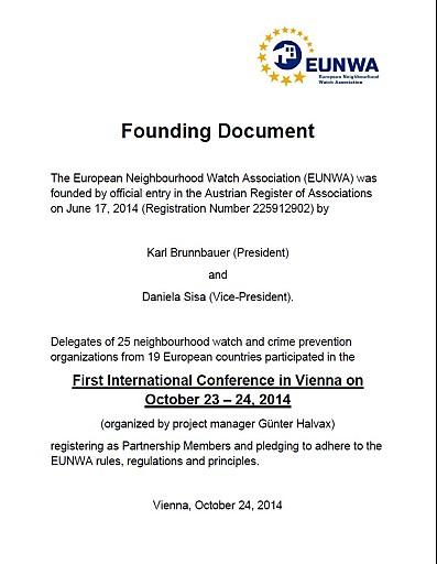 Vereinsgründung: EUNWA- European Neighbourhood Watch Association
