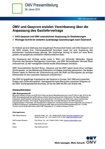 OMV und Gazprom erzielen Vereinbarung über die Anpassung des Gasliefervertrags