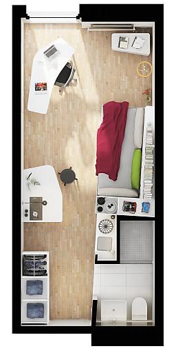 Über 20m2 große Designer-Einzelapartments mit eigenem Badezimmer und Pantry-Küche.