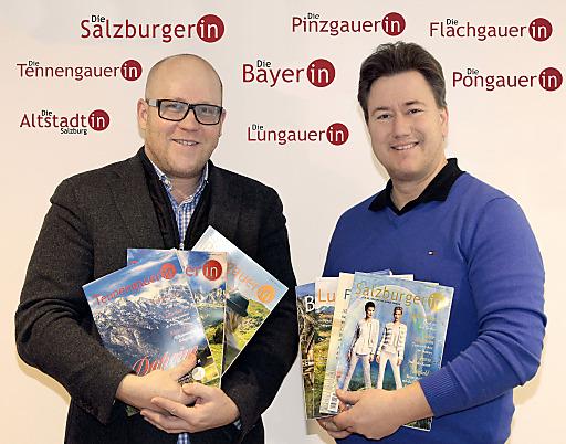 Stephan Kaindl-Hönig und Daniell Porsche mit der erweiterten Magazinfamilie