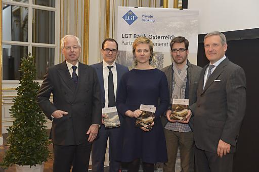 v.l.nr. S.D. Prinz Philipp von und zu Liechtenstein, Nikolaus Jilch (Platz 3), Eva Steindorfer (Platz 1), Markus Schauta (in Vertretung v. Jakob Armin-Ellissen - Platz 2), Mag. Meinhard Platzer (CEO LGT Austria)