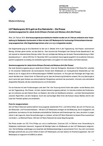 LGT Medienpreis 2015 geht an Eva Steindorfer – Die Presse