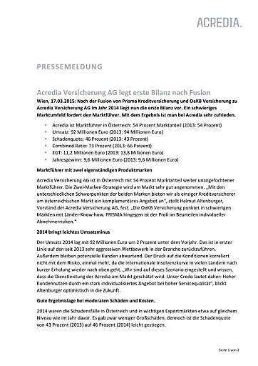 Acredia Versicherung AG legt erste Bilanz nach Fusion