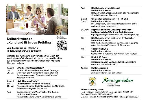 """Kulinarikwochen """"Xund und fit in den Frühling"""""""