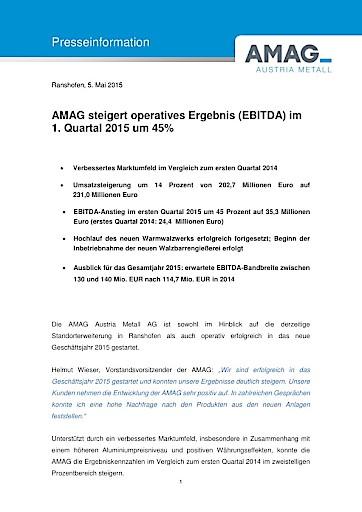 AMAG steigert operatives Ergebnis (EBITDA) im 1. Quartal 2015 um 45 Prozent