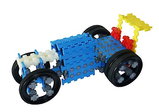 er-stone® Fahrzeug, gebaut aus geraden, runden und Rädern