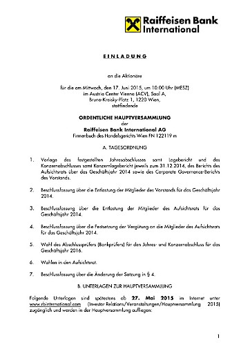 EANS-Hauptversammlung: Raiffeisen Bank International AG / Einladung ...