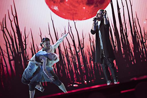 Elnur Huseynov aus Aserbaidschan bei der ersten Bühnenprobe zum Eurovision Song Contest in Wien