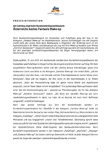 dm Lehrling siegt beim Bundeslehrlingswettbewerb: Österreichs bestes Fantasie Make-up