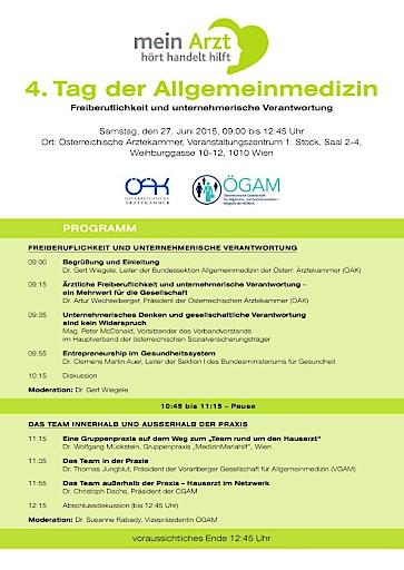 ÖÄK und ÖGAM laden zum Tag der Allgemeinmedizin am 27. Juni 2015
