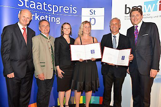 Vertreter von Österreichs Wanderdörfern, der TAO Beratungs- und Management GmbH und TAO Software freuen sich über die Auszeichnung beim Staatspreis Marketing 2015.