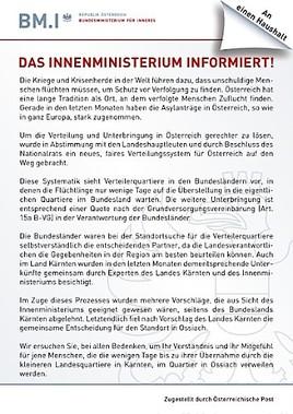 Asylzentrum - Ossiachs offene Antwort auf BM Mikl-Leitners merkwürdigen Bitt-Brief