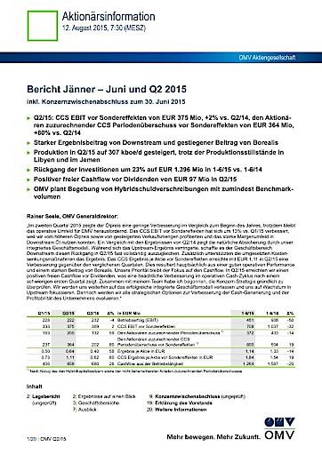OMV Ergebnis: Bericht Jänner - Juni und Q2 2015