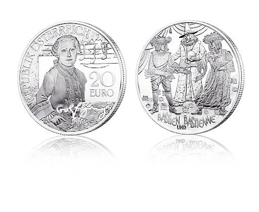 Ansicht der neuen 20 Euro Silbermünze Mozart - das Wunderkind