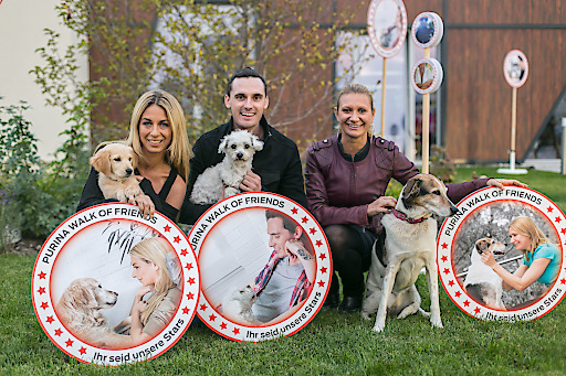 v.l.n.r. DaC Charity-Lady Yvonne Rueff mit Hündin Mia, Sänger James Cottriall mit seiner Taylor und Kabarettistin Angelika Niedetzky mit ihrer Rosa beteiligten sich gemeinsam mit 2.000 weiteren Tierliebhabern am PURINA Walk of Friends und sind darauf mit einem eigenen Stern vertreten.