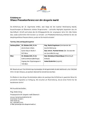 Einladung zur Bilanz-Pressekonferenz von dm drogerie markt