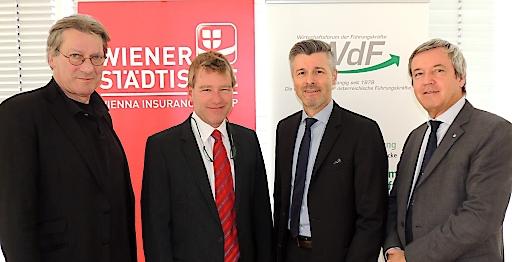 v. li.: Dr. Felix Josef (triconsult), Mag. Christoph Sauermann (mediclass Gesundheitsclub), Mag. Gerhard Zeiner (WdF) und Mag. Peter Kranz (Wiener Städtische Versicherung) standen Rede und Antwort.