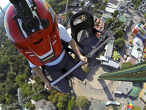 Hier sehen Sie ein Spontanfoto aus 117m Höhe nach unten blicken, direkt von der Attraktion im Wiener Prater.