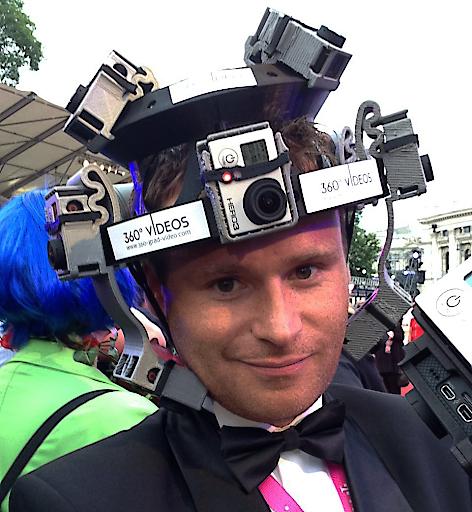 360 Grad Video Helm für Veranstaltungen oder Videos aus der Ich Perspektive. Der Kopf wird quasi zur 360 Grad Videokamera. Prototyp gedruckt mit einem 3D Drucker.