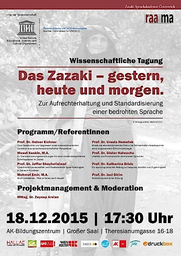 Wissenschaftliche Tagung Wien 18.12.2015: Das Zazaki-gestern, heute und morgen
