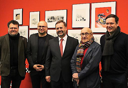 """In der Ausstellung """"Kult auf 4 Rädern. Das Auto im Comic und in der Karikatur"""" (17. Januar 2016 - 15. Januar 2017) im Karikaturmuseum Krems."""
