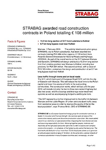 EANS-News: Strabag awarded road construction contracts in