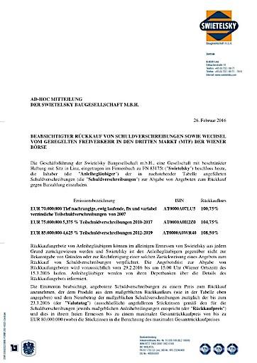 EANS-Adhoc: Swietelsky Baugesellschaft m.b.H. / Beabsichtigter Rückkauf von Schuldverschreibungen sowie Wechsel vom Geregelten Freiverkehr in den Dritten Markt (MTF) der Wiener Börse (mit Dokument)