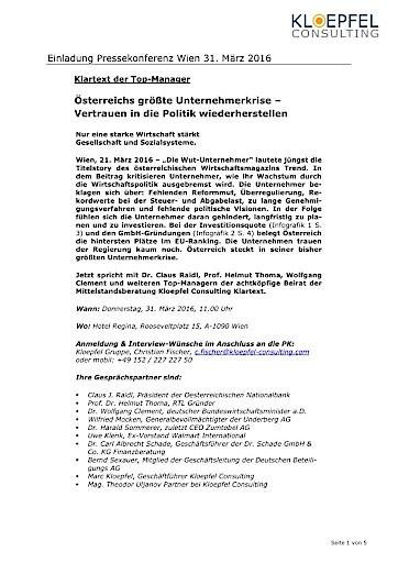 Pressekonferenz: Österreichs größte Unternehmerkrise