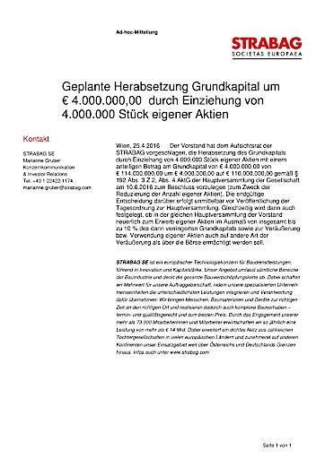 EANS-Adhoc: STRABAG SE / Geplante Herabsetzung Grundkapital um EUR 4.000.000,00  durch Einziehung von 4.000.000 Stück eigener Aktien (mit Dokument)