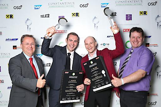 v. l. n. r.: Dr. Wolfgang Reiger, CSE, UBIT-Fachgruppenobmann, Jürgen Lung von Walter Bösch, Christian Fasching von elements und Peter Lieber von Sparx Systems freuen sich über den Sieg beim Constantinus Award 2016.