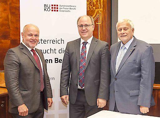 Pressekonferenz am 4. Juni 2016, Café Landtmann, Wien v.l.n.r.: DI Baurat h.c.Rudolf Kolbe (Präsidialmitglied BUKO), Mag. vet.med. Kurt Frühwirth (Präsident BUKO), Prof. Dr. Dr. h.c. mult Friedrich Schneider (Johann Kepler Universität Linz)