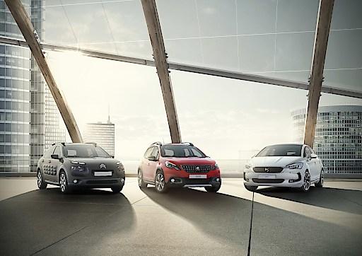 Das Bild zeigt aktuelle PKW-Modelle der Groupe PSA, konkret: Citroen C4 Cactus Peugeot 2008 DS 5 (vl.n.r.)
