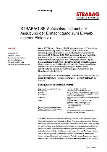 EANS-Adhoc: STRABAG SE-Aufsichtsrat stimmt der Ausübung der Ermächtigung zum Erwerb eigener Aktien zu (mit Dokument)