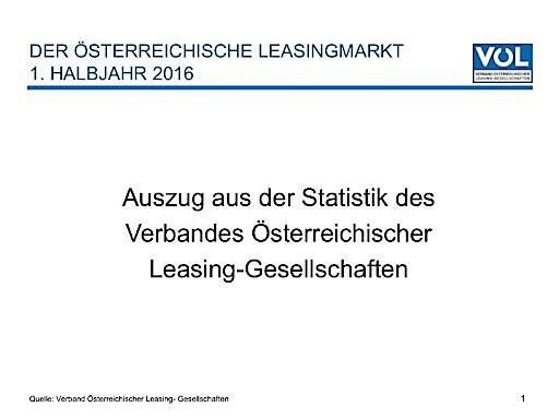 Leasing-Neugeschäft legt im 1. Halbjahr 2016 um 8 Prozent zu