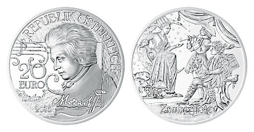 Abbildung der Wert- und Bildseite der neuen 20-Euro-Silbermünze Mozart: Der Mythos