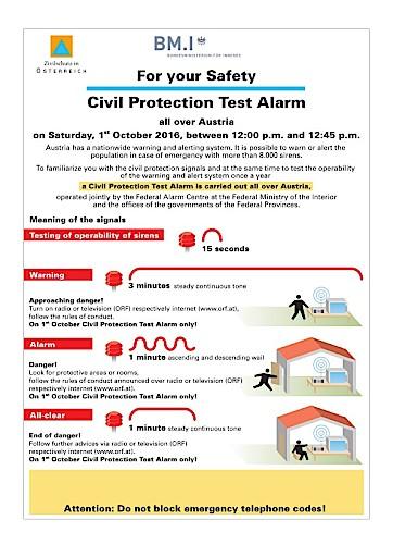 Zivilschutz-Probealarm am 1. Oktober 2016
