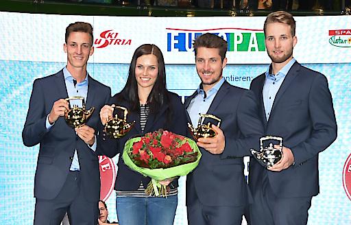 Im Bild v.l.n.r.: Gregor Schlierenzauer, Anna Veith, Marcel Hirscher, Marco Schwarz