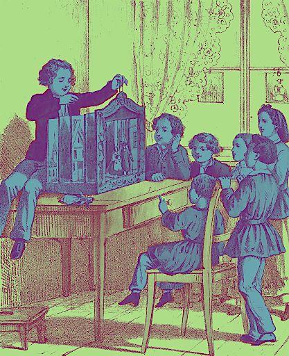 Papiertheatervorführung Grafik nach einer kolorierten Lithografie. Druck: Winkelmann & Söhne, Berlin um 1860 Historisches Museum Frankfurt, Foto: Horst Ziegenfusz