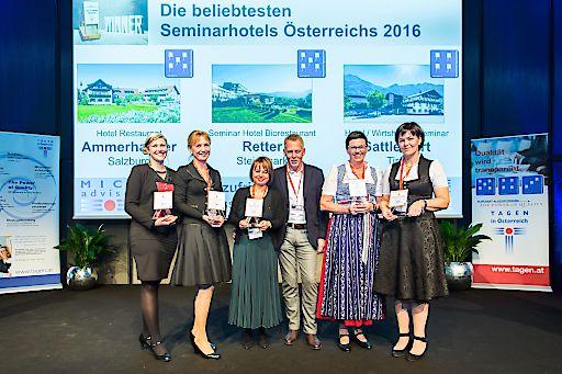 https://www.apa-fotoservice.at/galerie/8422 Die beliebtesten Seminarhotels Österreichs – im Bild v.l.n.r. Sandra Paller und Ulrike Retter (Seminar Hotel Biorestaurant Retter, Platz 1 in der Steiermark und österreichweit), Maria Ammerhauser und Raimund Schörghofer (Hotel Restaurant Ammerhauser, Platz 1 in Salzburg und österreichweit), Birgit Astner und Beate Astner-Prem (Hotel/ Wirtshaus/ Seminar Sattlerwirt, Platz 1 in Tirol und österreichweit)