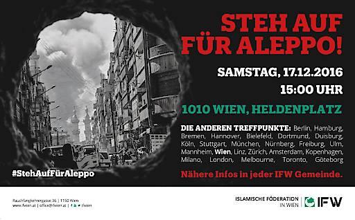 Mit dieser Veranstaltung möchten wir auf die humanitäre Katastrophe in Aleppo aufmerksam machen und unsere Solidarität bekunden.
