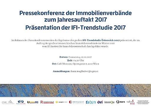 Im Rahmen der Pressekonferenz werden die Ergebnisse der großen IFI-Trendstudie Österreich 2017 präsentiert, die im Auftrag der großen österreichischen Immobilienverbände im Winter 2016 vom IFI Institut für Immobilienwirtschaft erstmals durchgeführt wurde.