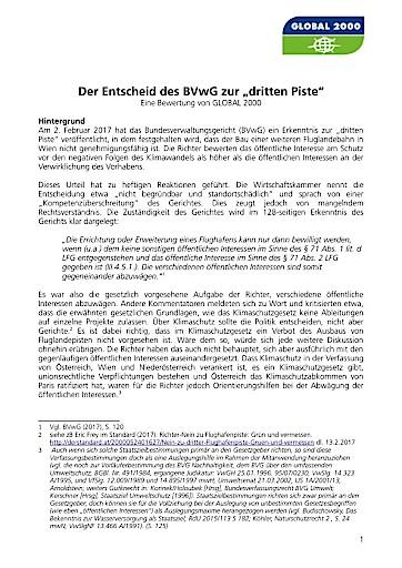 GLOBAL 2000: Politik muss umdenken und Gerichtsentscheid zur dritten Flughafenpiste als große Chance begreifen!