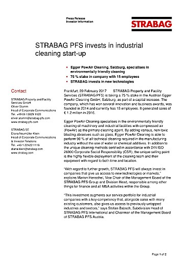 EANS-News: Strabag PFS invests in industrial cleaning start-up (with attachments)